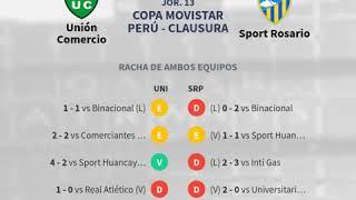 Previa Unión Comercio vs Sport Rosario - Jornada 13 - Copa Movistar Pe... - Pronósticos y horarios