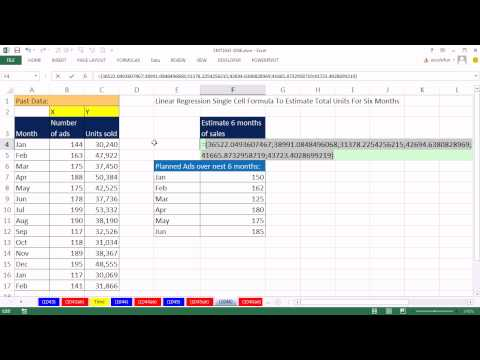 Excel Magic Trick 1046: Linear Regression Estimate & Add Many Predicted Y-Values Single Cell Formula