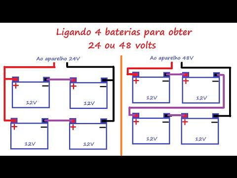 Ligando 4 baterias para obter 24 ou 48 volts ligações serie e paralelo