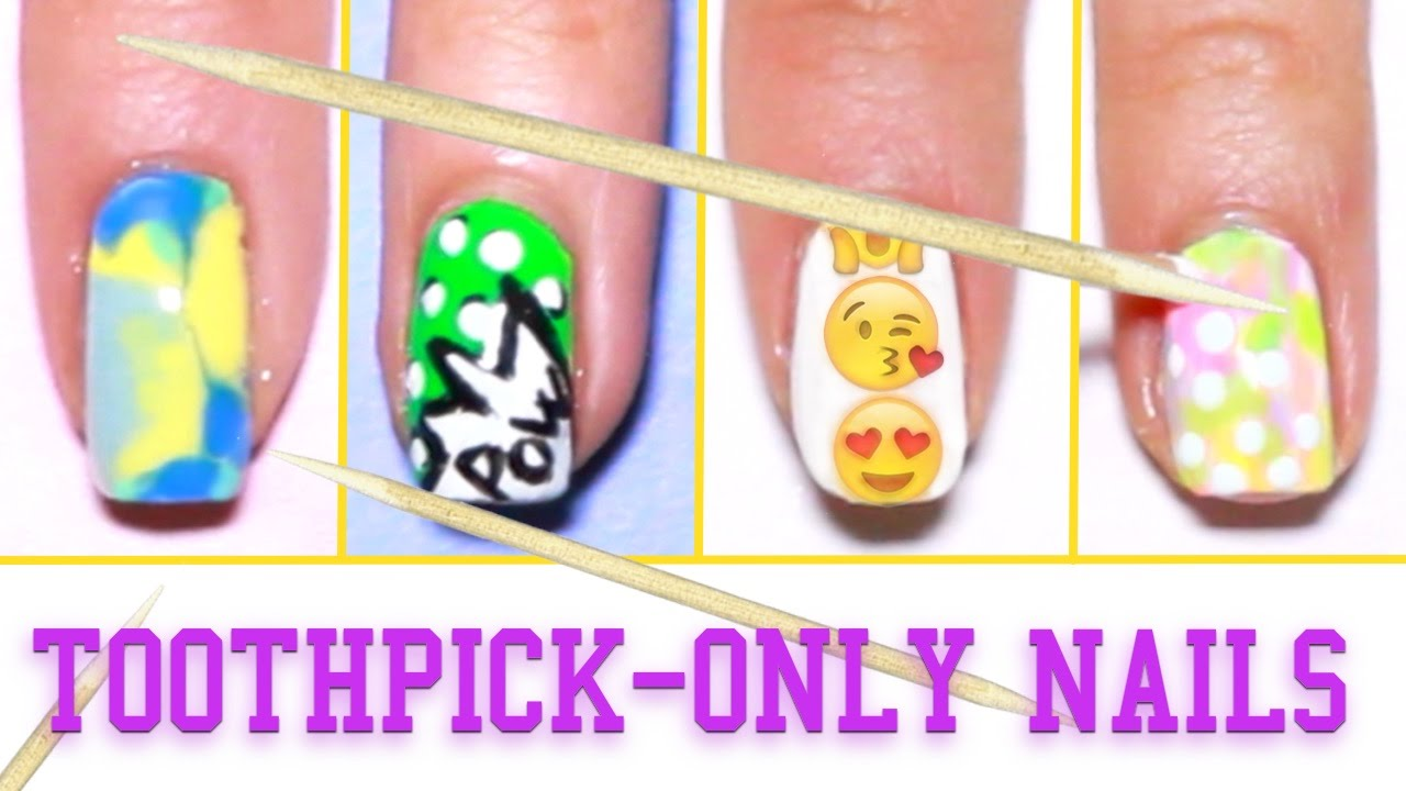6 easy nail art designs using a toothpick  - YouTube