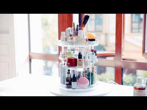 Zerria - Makeup Organizer Jewelry and Cosmetic Storage Display Transparent Box Multi-Function