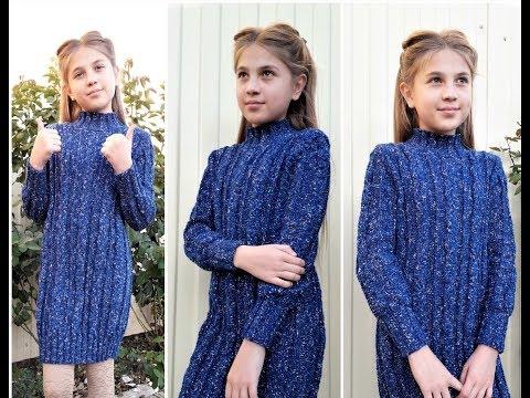 Платье спицами для девочки 7 лет с описанием