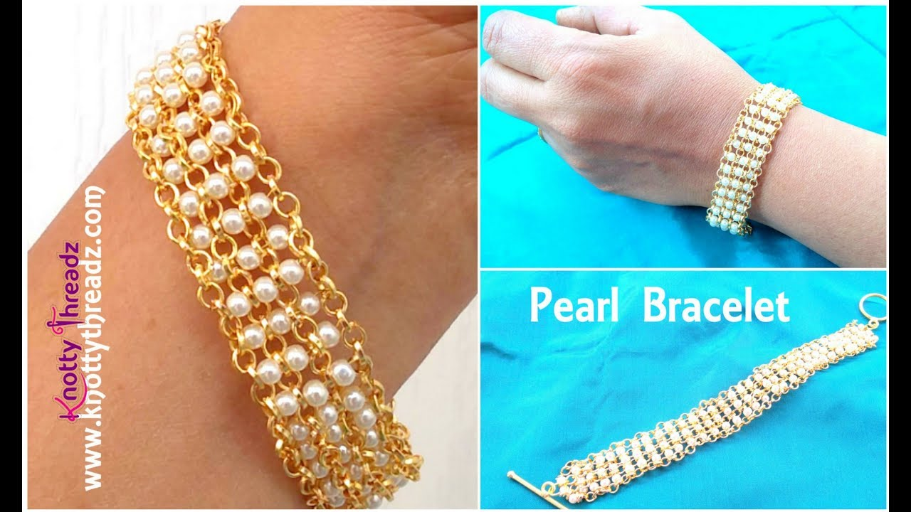 How to Make a Party Wear Pearl Bracelet at home | Fashion Jewelry ...