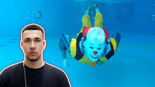 REACTING TO SCARY CLOWN IN OUR POOL...