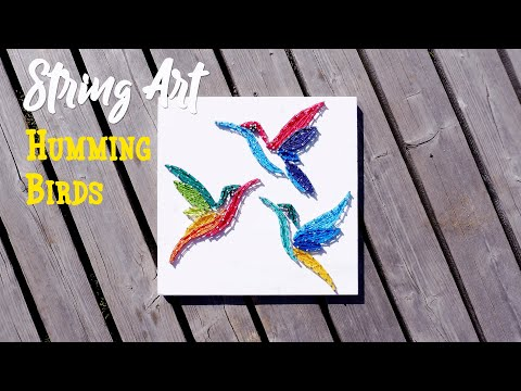How to make Hummingbirds String Art picture | DIY tutorial | Wooden wall decor
