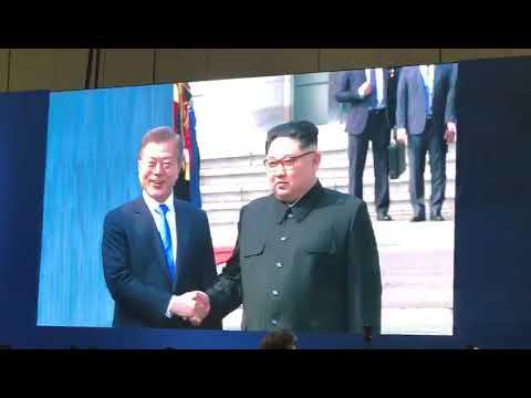 North Korean leader Kim Jong Un and South Korean President Moon Jae In share historic handshake