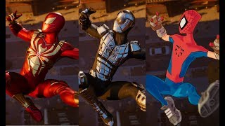 Peter Crafts the Advanced Suit Cutscene (All Turf Wars DLC Suits) - Marvel