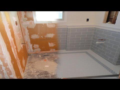 Complete tile installation  Schluter Kerdiboard, Kerdi-Line drain, Walker Zanger ceramic. Time lapse
