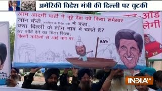 Delhi: BJP Protest In Boats Against AAP Party Over John Kerry's Waterlogging Remark