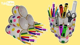 177) Ide Kreatif - Tempat pensil dari botol bekas    Bottle craft ideas   Crafts With Bottle Plastic