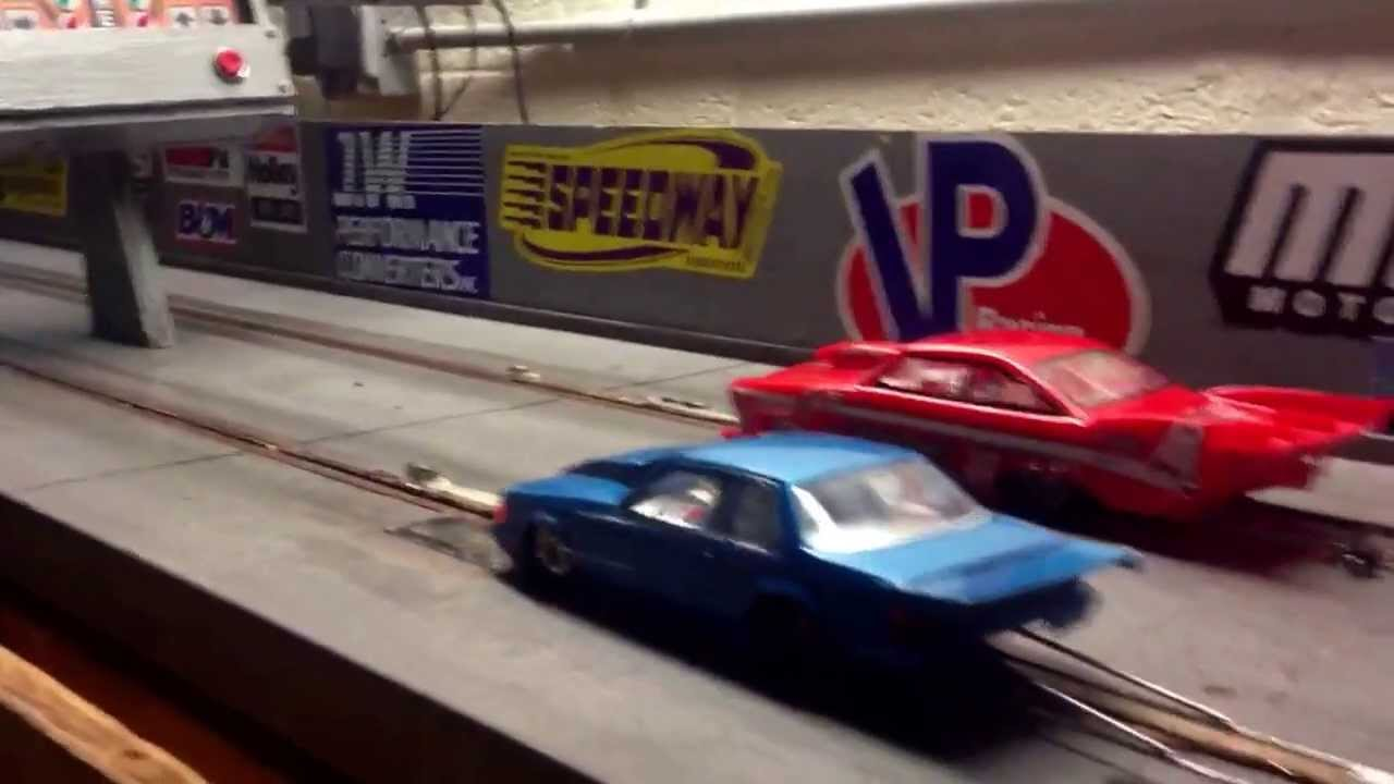 1/24 slot car drag racing mustang twin turbo against pro mod ...