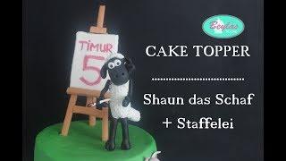 Fondantfigur Shaun das Schaf und Staffelei  Cake Topper für Motivtorte Shaun the Sheep