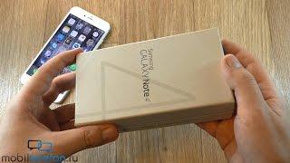 Распаковка Samsung Galaxy Note 4 в черном цвете и демо с iPhone 6 Plus (unboxing)