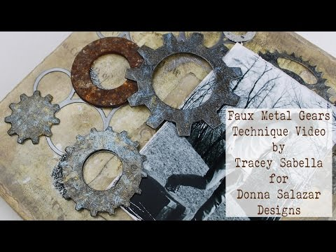 DIY Faux Metal Gears Tutorial featuring Donna Salazar Spellbinders Gears Steel Rule Dies