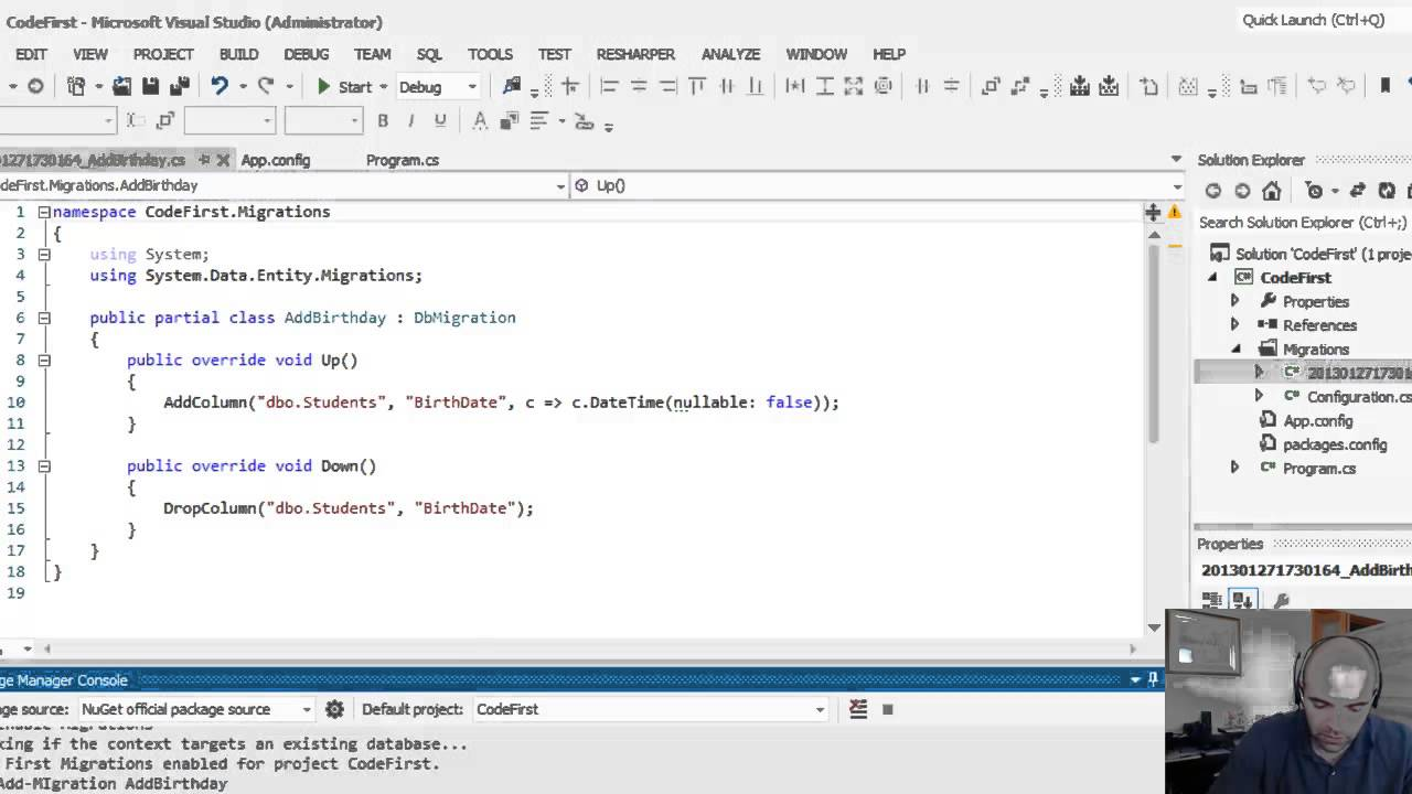 Entity Framework 5 0 - Code First Migrations - How to update a database  schema Part 2 of 2