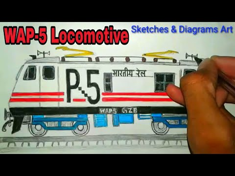 Indian Electric WAP-5 Locomotive Drawing Indian railways