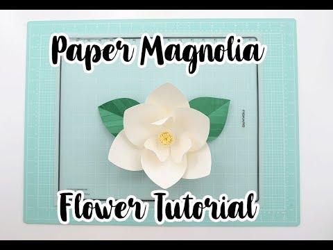 DIY Paper Magnolia Tutorial   Template #28   Pearl Paper Flowers thumbnail