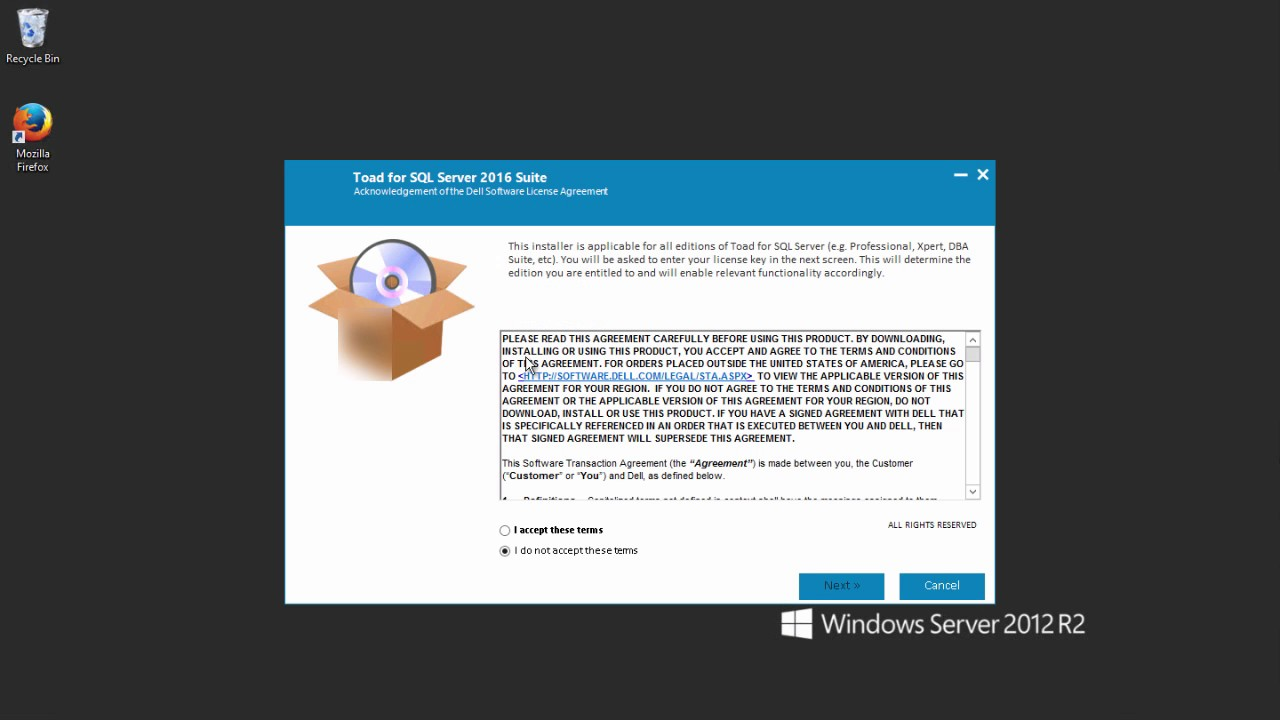 toad for sql server please enter a license key and site message