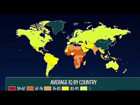 A MAP OF AVERAGE IQ BY COUNTRY !