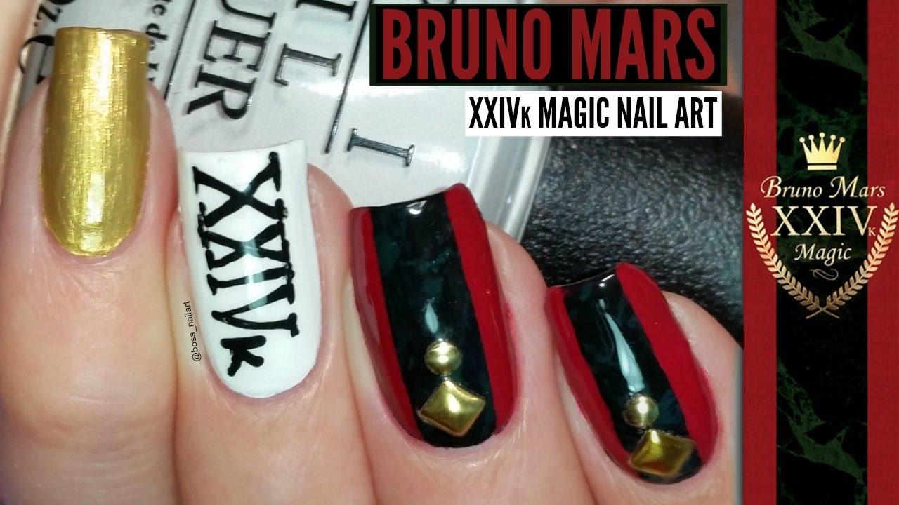 BRUNO MARS 24K MAGIC NAIL ART TUTORIAL | Music Nail Art
