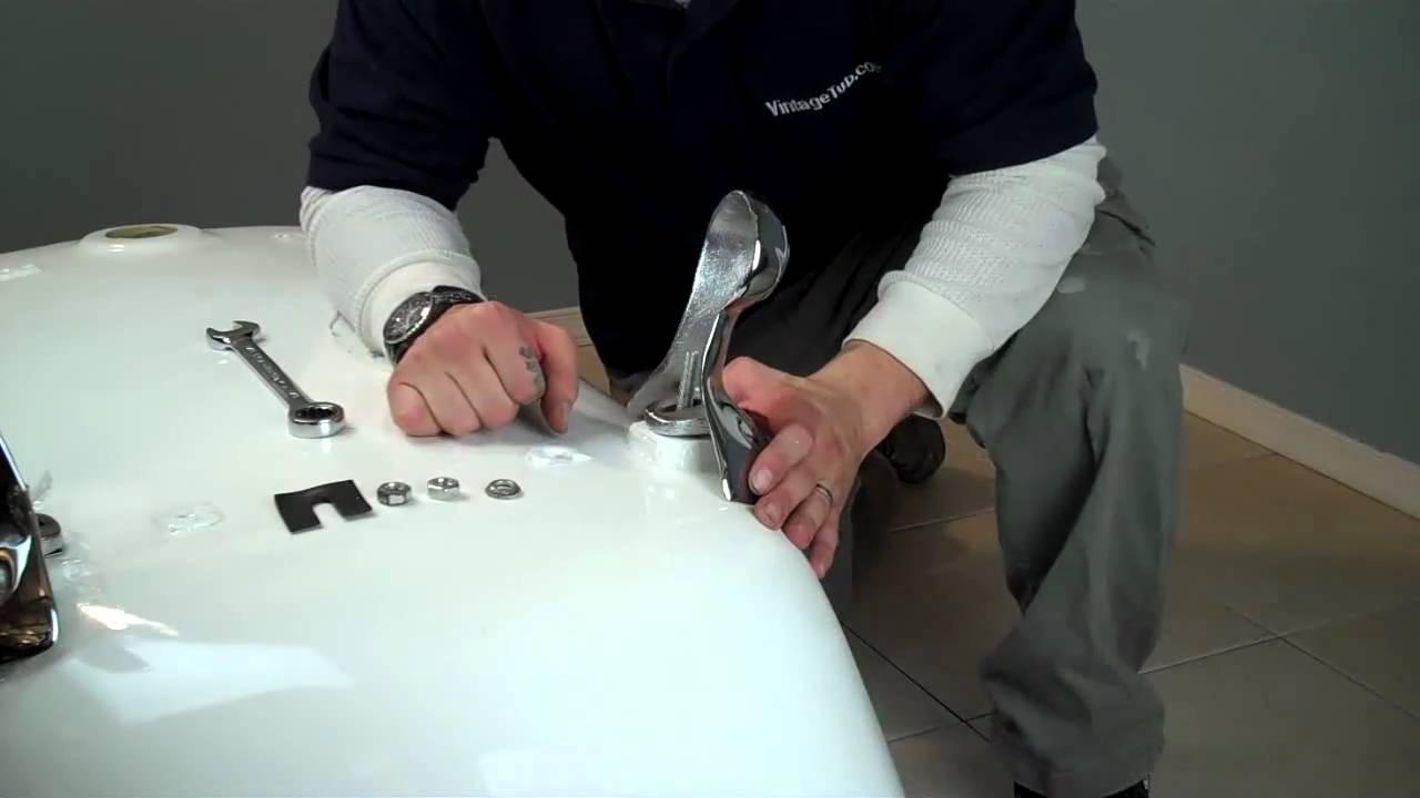 how to install a clawfoot tub How to Install Clawfoot Tub Feet   YouTube how to install a clawfoot tub