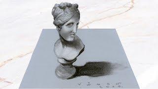 3D BUST OF VENUS - How to Draw Venus Statue Illusion - Trick Art on paper