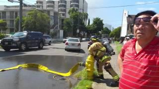 Fireman opening fire hydrant