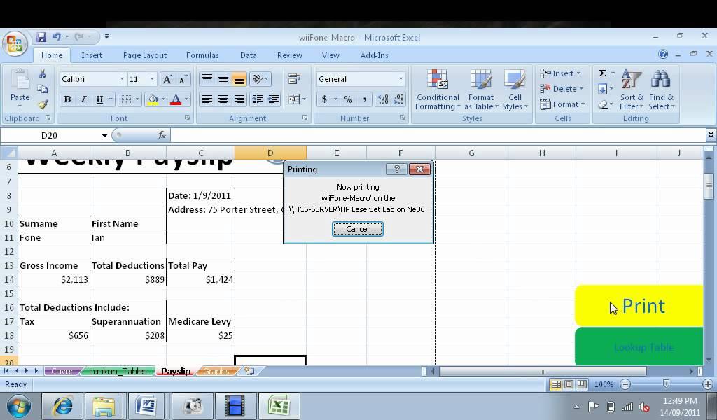 Printing Payslip Via Macro YouTube – Salary Slip Generator Excel