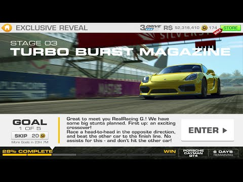 Real Racing 3:- Exclusive Reveal Stage 03 Goal 1 TURBO BURST MAGAZINE Porsche Cayman GT4