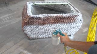 Critter Spray Gun Painting Wicker Chest