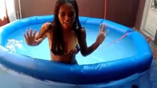 Brazilian girl  chillin in swimming pool