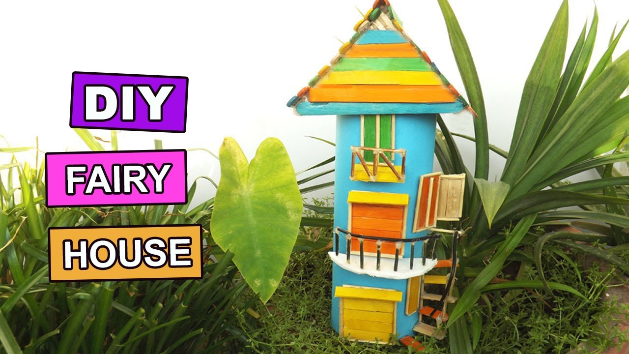 diy miniature fairy gardens house | easy popsicle stick crafts for