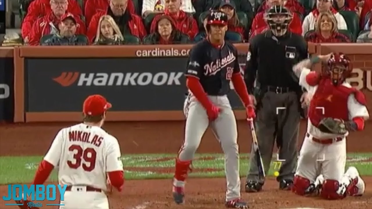 Juan Soto and Miles Mikolas grab their junk at eachother, a breakdown
