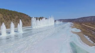 Explosion under frozen river creates awe-inspiring sight