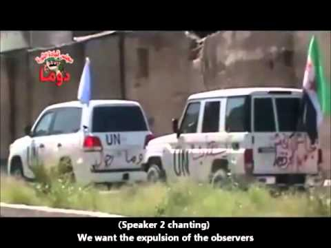 SYRIA - Attack On UN Observer's Vehicles In Duma Filmed By 'Free Syrian Army'