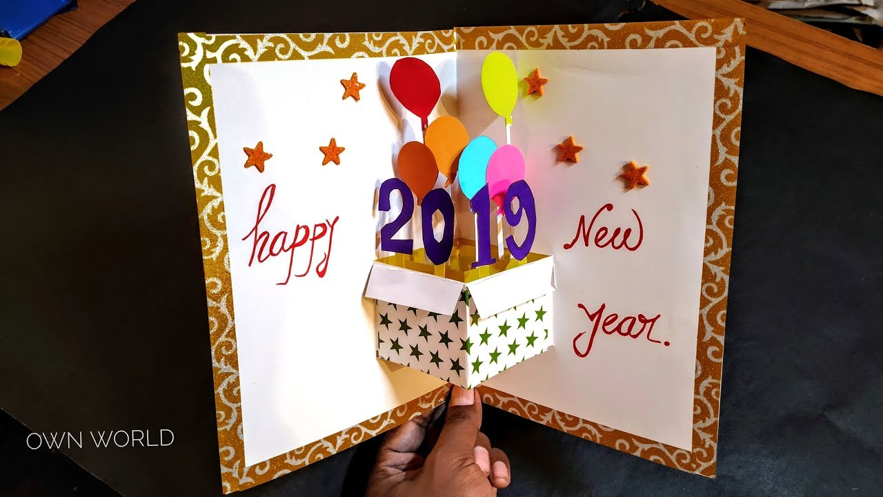Very Easy ! New year pop up greeting cards - How to make ...