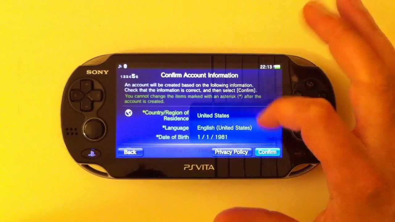 Creare Account PSN Americano (USA) con PS Vita Europea Pal - Tutorial