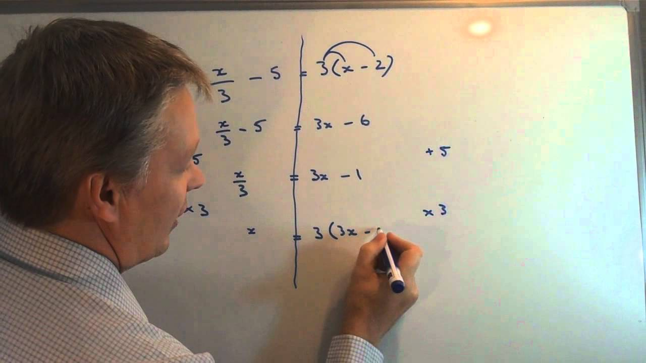 How To Solve Linear Equations With Fractions And Brackets Youtube