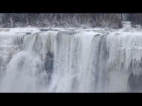 Water still cascades over nearly frozen Niagara Falls