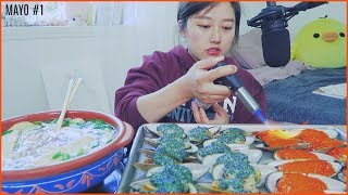 Mayonnaise #1 - Dynamite Mussels + Fish Cake noodle Soup Mukbang(social eating)