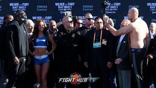 FULL WEIGH IN- DEONTAY WILDER & TYSON FURY STAND OFF! LOCK EYES ON EACH OTHER AFTER MAKING WEIGHT