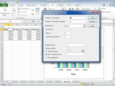 Excel 2010 Use the Random Number Generation Analysis Tool - YouTube