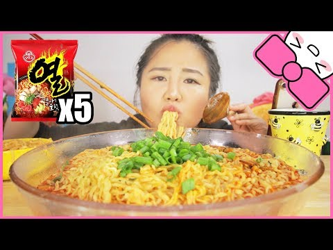 5 PACKS of SPICY FIRE SOUP NOODLES in 10 MINUTES CHALLENGE!!