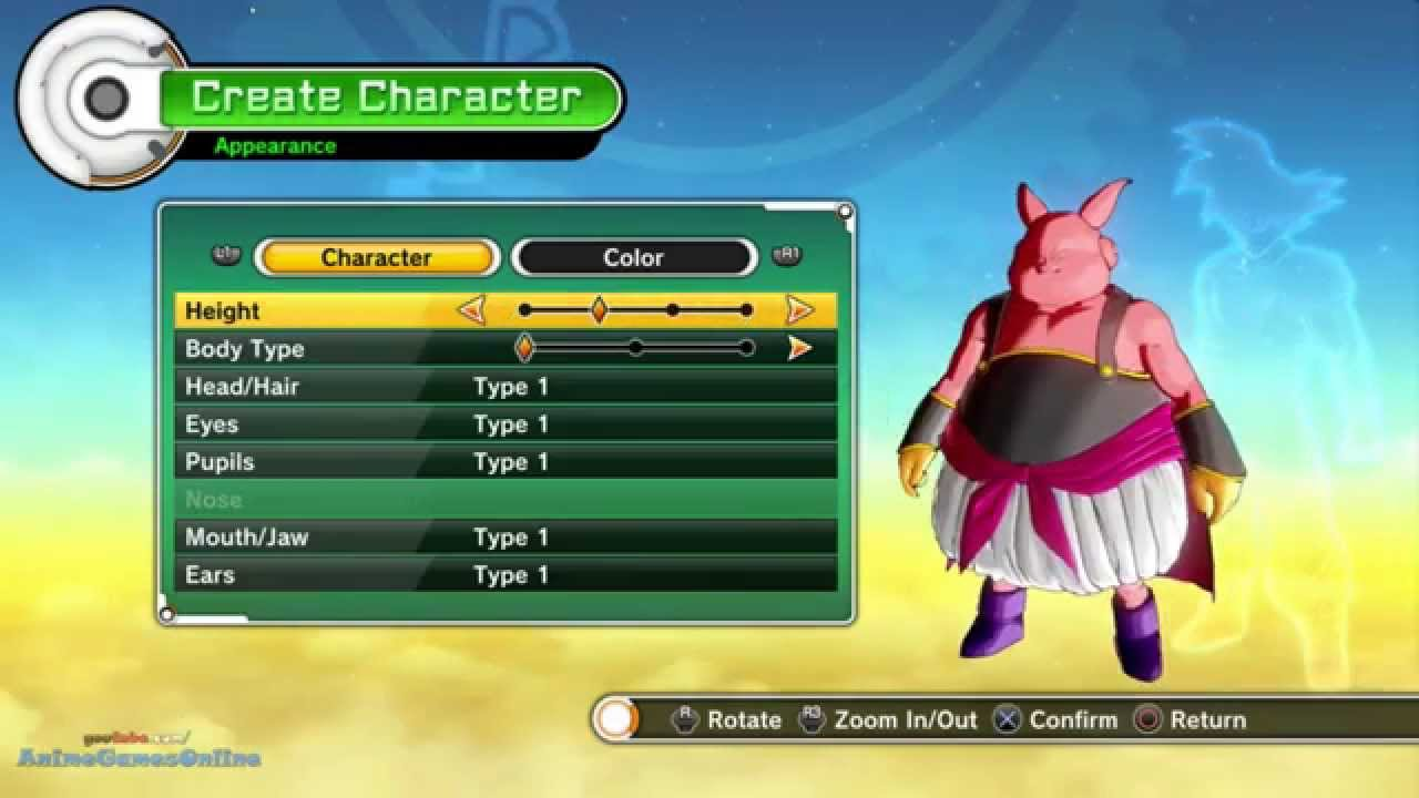 dragon ball xenoverse majin character creation youtube