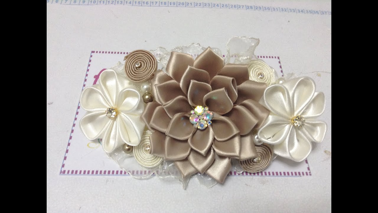 Como hacer una tiara de bautizo con flores kanzashi VIDEO No. 162 , YouTube