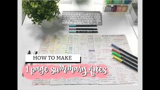 HOW TO MAKE 1 PAGE SUMMARY NOTES | studycollab: alicia