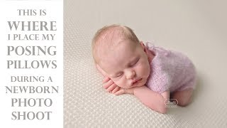 Where do I place my POSING PILLOWS (beans) during a NEWBORN photoshoot? - Baby Photography Tutorial