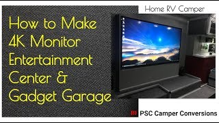 4K TV Monitor Gadget Garage Recharging, Home RV Camper Van,  Entertainment Center, Build Make
