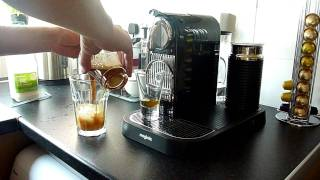 Making my first delicious iced latte with the Nespresso Citiz