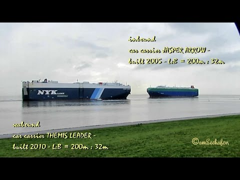 car carriers meeting THEMIS LEADER 3FCI5 IMO 9553115 JASPER ARROW C6UH9 IMO 926791 Schiffsbegegnung